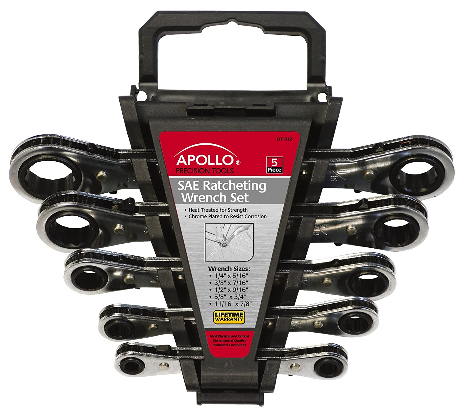 5-Piece Apollo Tools DT1212 SAE Ratcheting Wrench Set