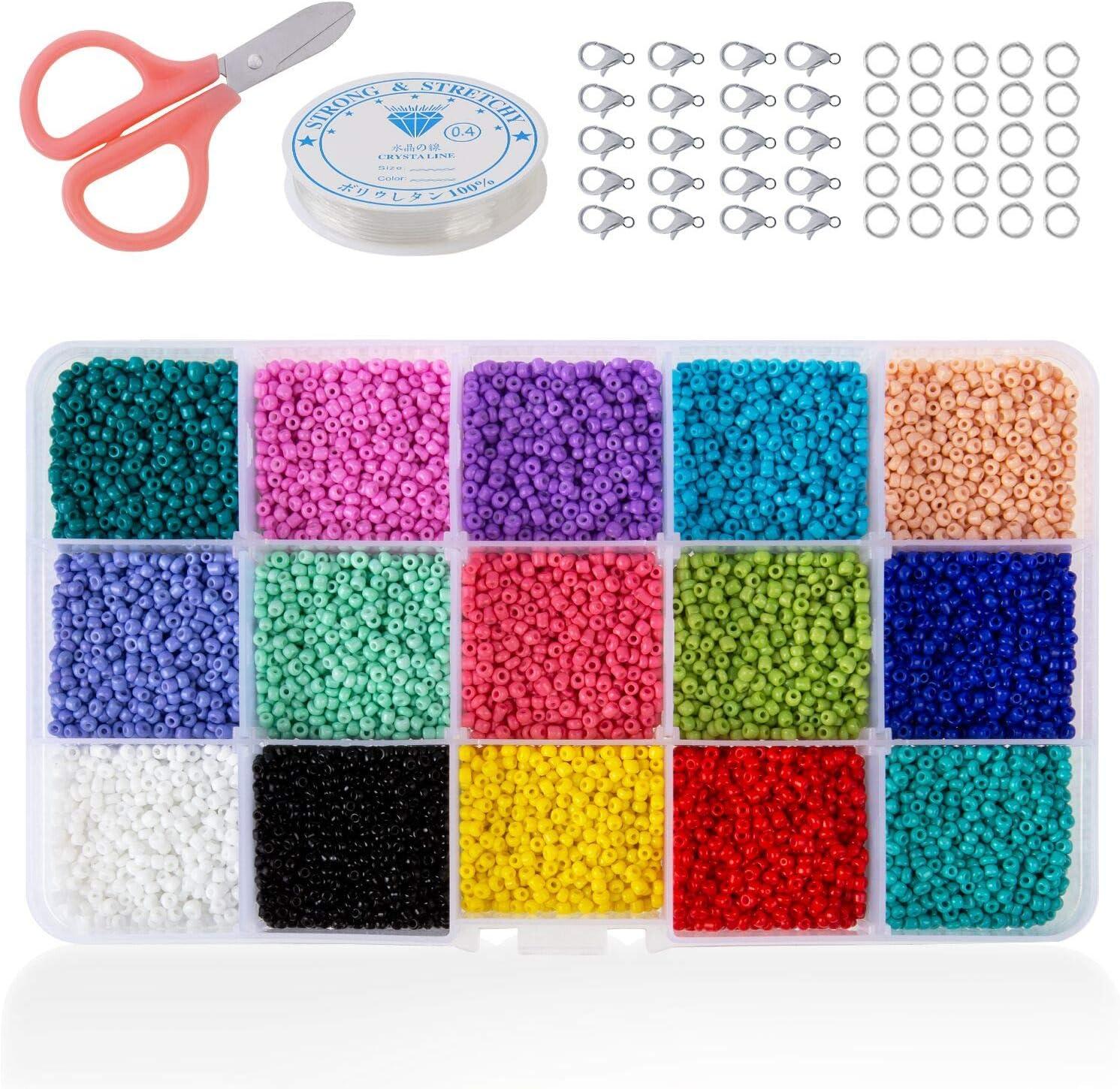 Phogary 15000 unids Granos de la Semilla de Cristal, Colores Mezclados Pequeño Pony Perlas Espaciadoras 2mm Redondo para la Elaboración de Bricolaje