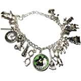 Main Street 24/7 Wicked Musical Themed Silvertone Metal and Glass Dome Charms Bracelet