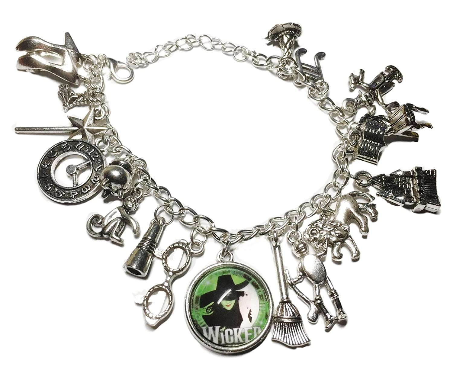 Main Street 24//7 Wicked Musical Themed Silvertone Metal and Glass Dome Charms Bracelet