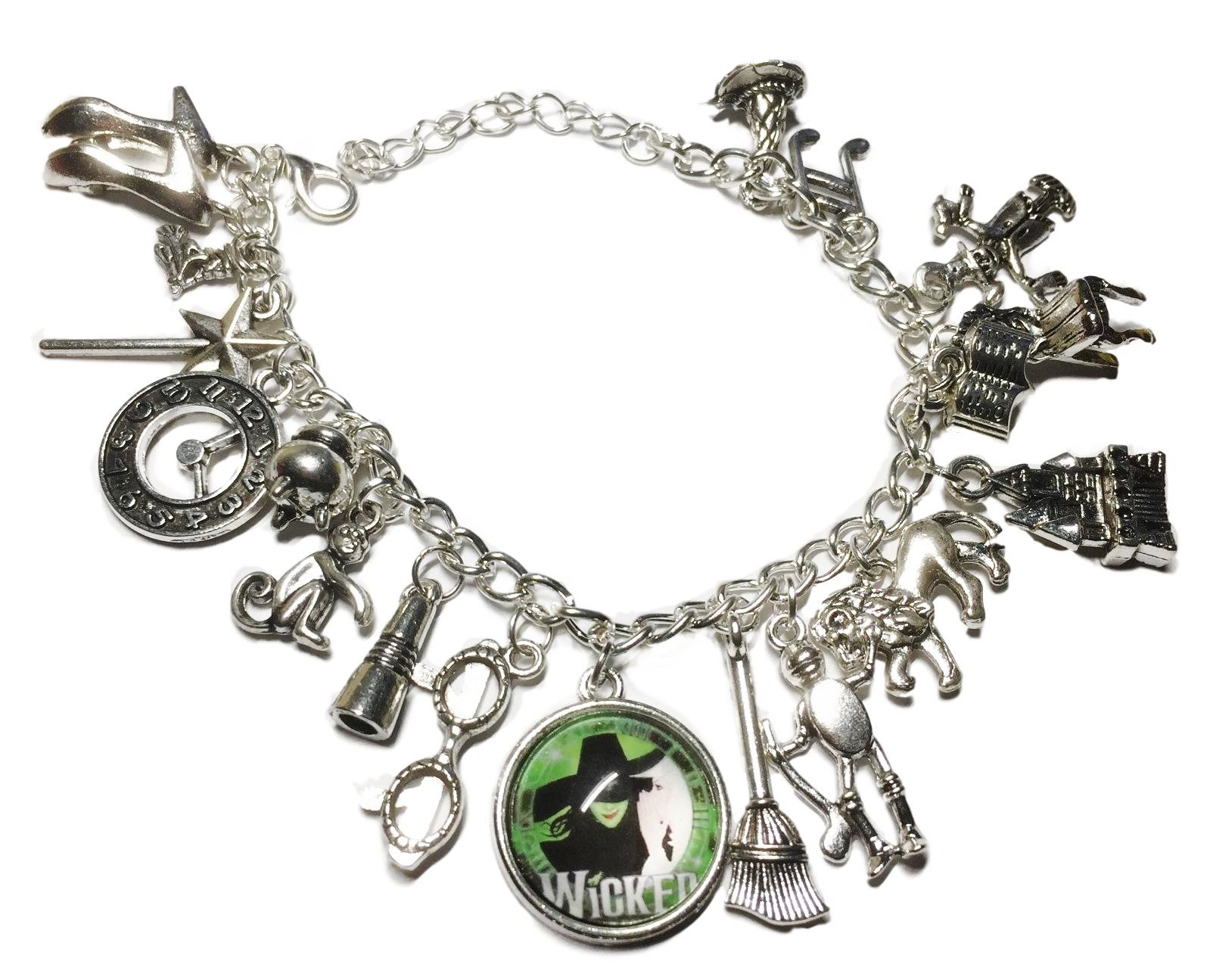 Wicked Musical Themed Silvertone Metal and Glass Dome Charms Bracelet