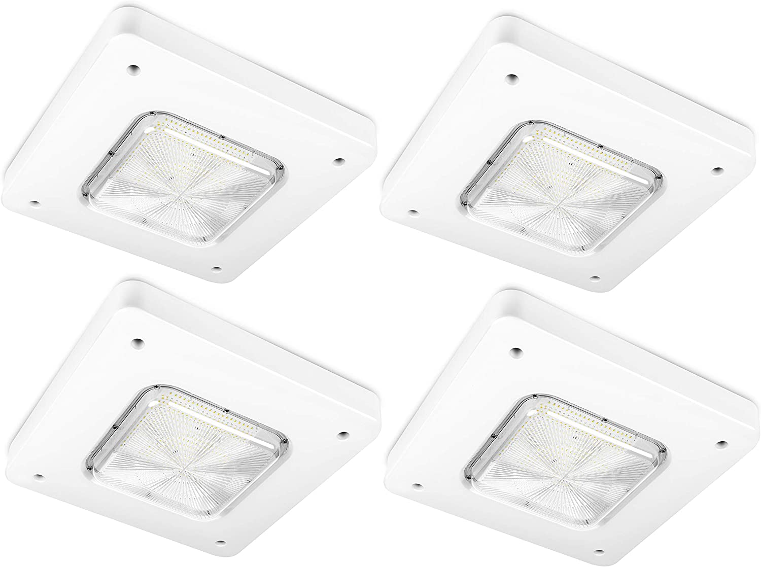 Hyperikon LED Canopy Light, Outdoor Gas Station Light Fixture, White, 5000K, UL, DLC, 100 Watts, 4 Pack