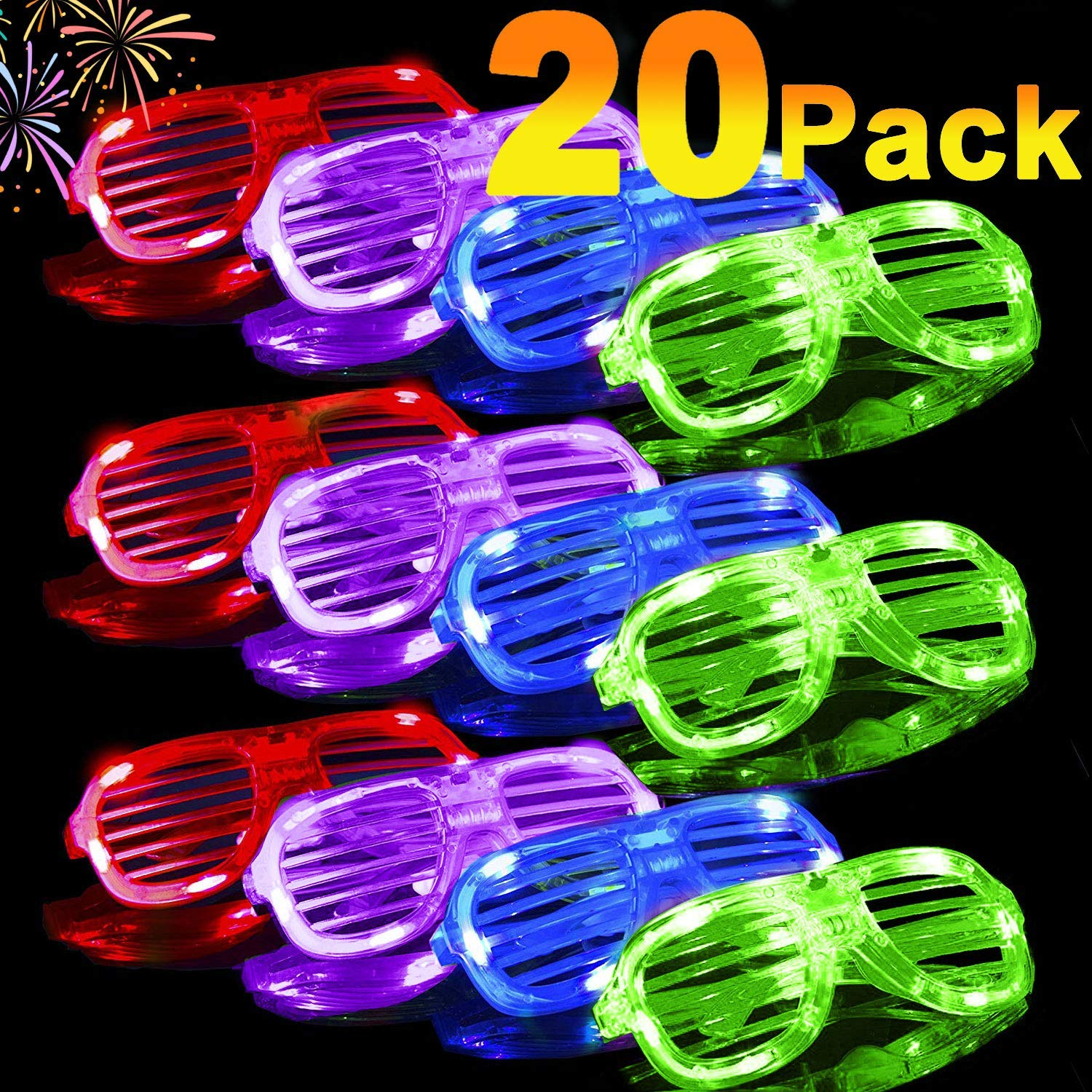 20 Pack Light Up Glasses 2020 Glow in The Dark Party Shades 5 Color Led Party Glasses Shutter Shades for Adults Kids LED Neon Sunglasses Neon Party Supplies Rave Night Games Party Favors by iGeeKid