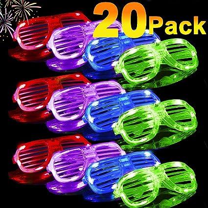 Amazon.com: Pack de 20 gafas LED brillantes que brillan en ...