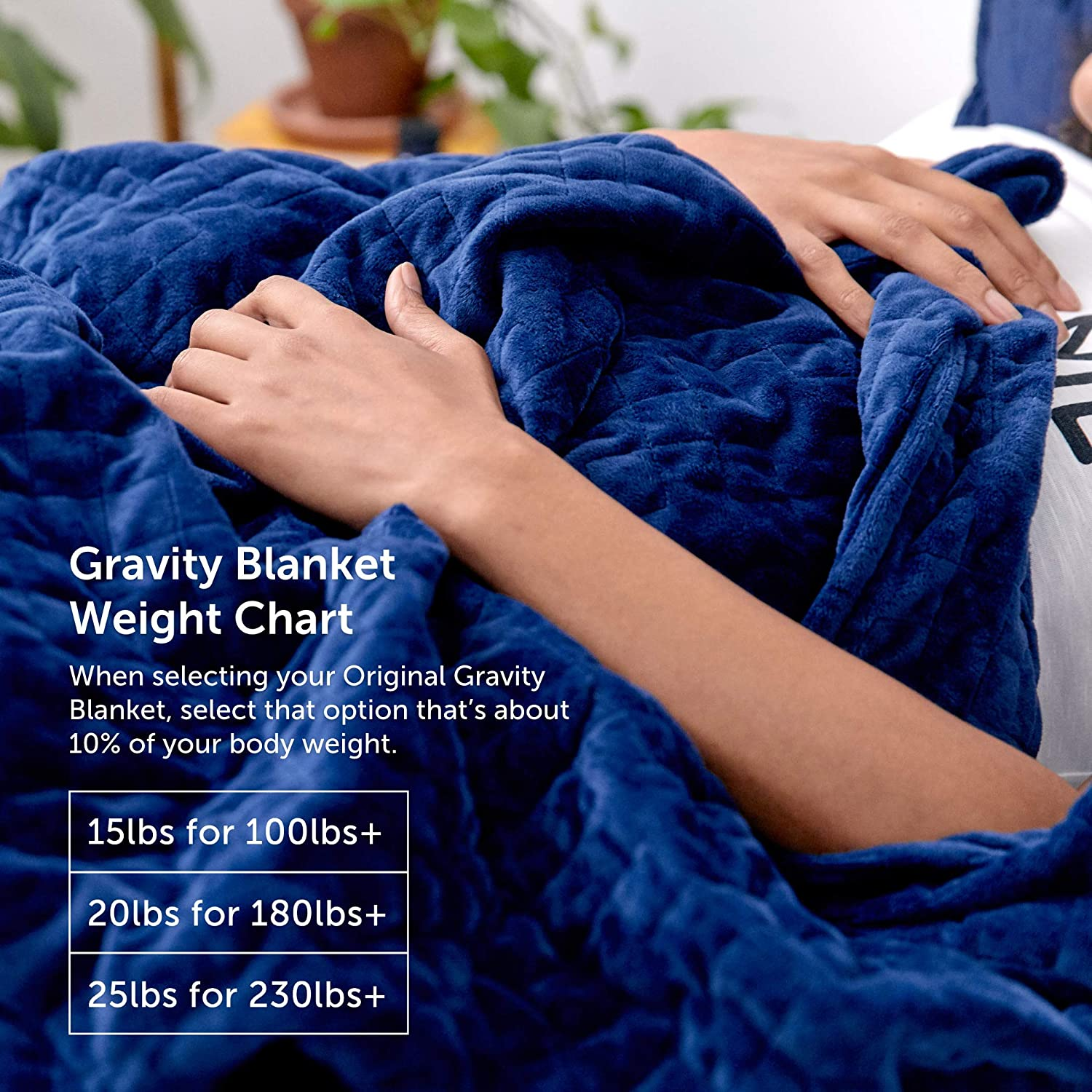 48 x 72 Size Gravity Blanket: The Weighted Blanket for Sleep 20-Pound White