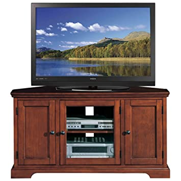 Leick Riley Holliday Westwood Corner TV Stand With Storage, 46 Inch, Brown  Cherry