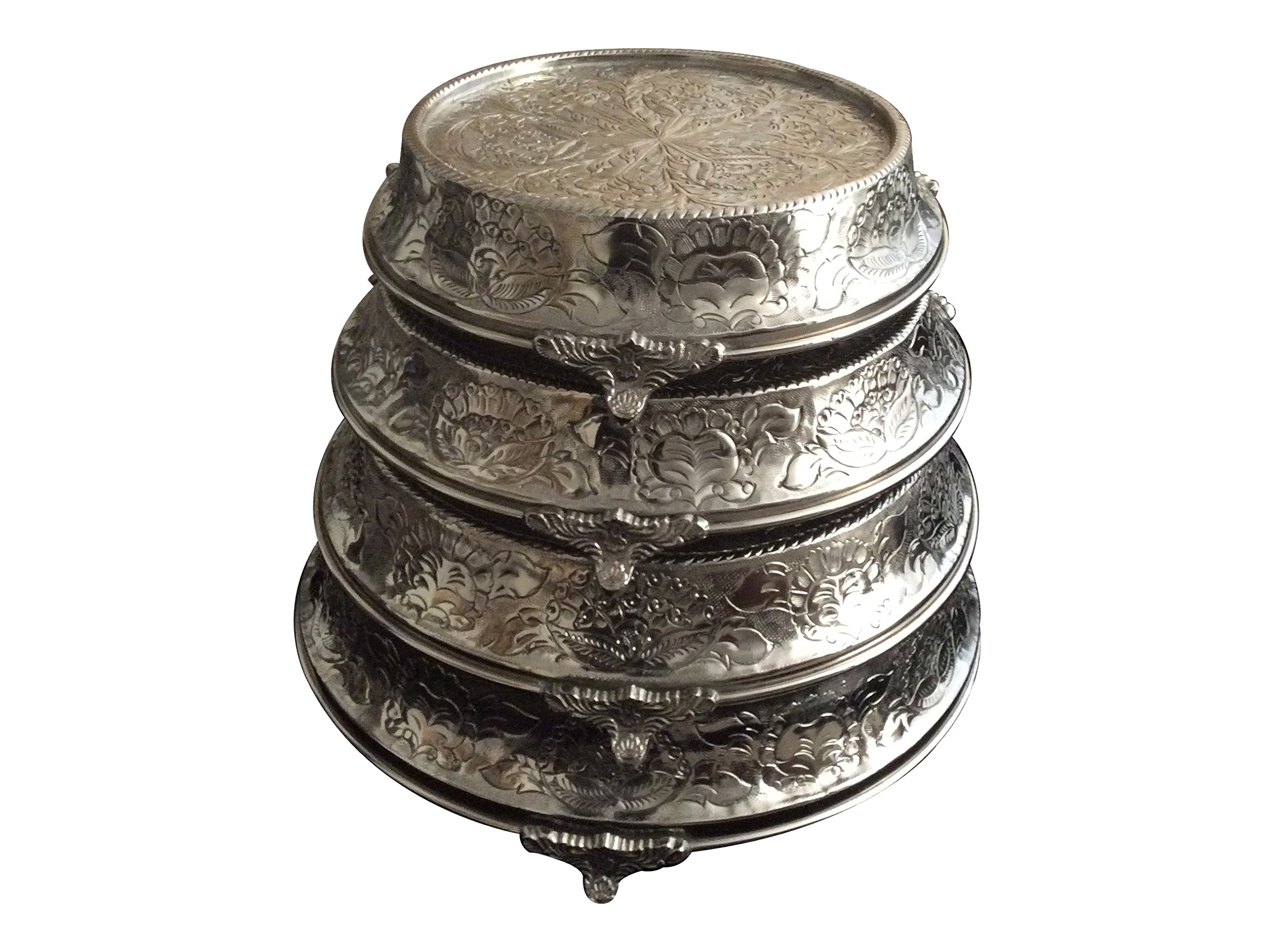 GiftBay Wedding Cake Stand Tapered Round Set of 4, Size 12'', 14'', 16'' & 18'' Strongly Built For Proessional Bakers