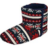 Men's Dunlop 'BOBBY' Nordic Bootee Slippers Charcoal Fairisle Knitted uppers