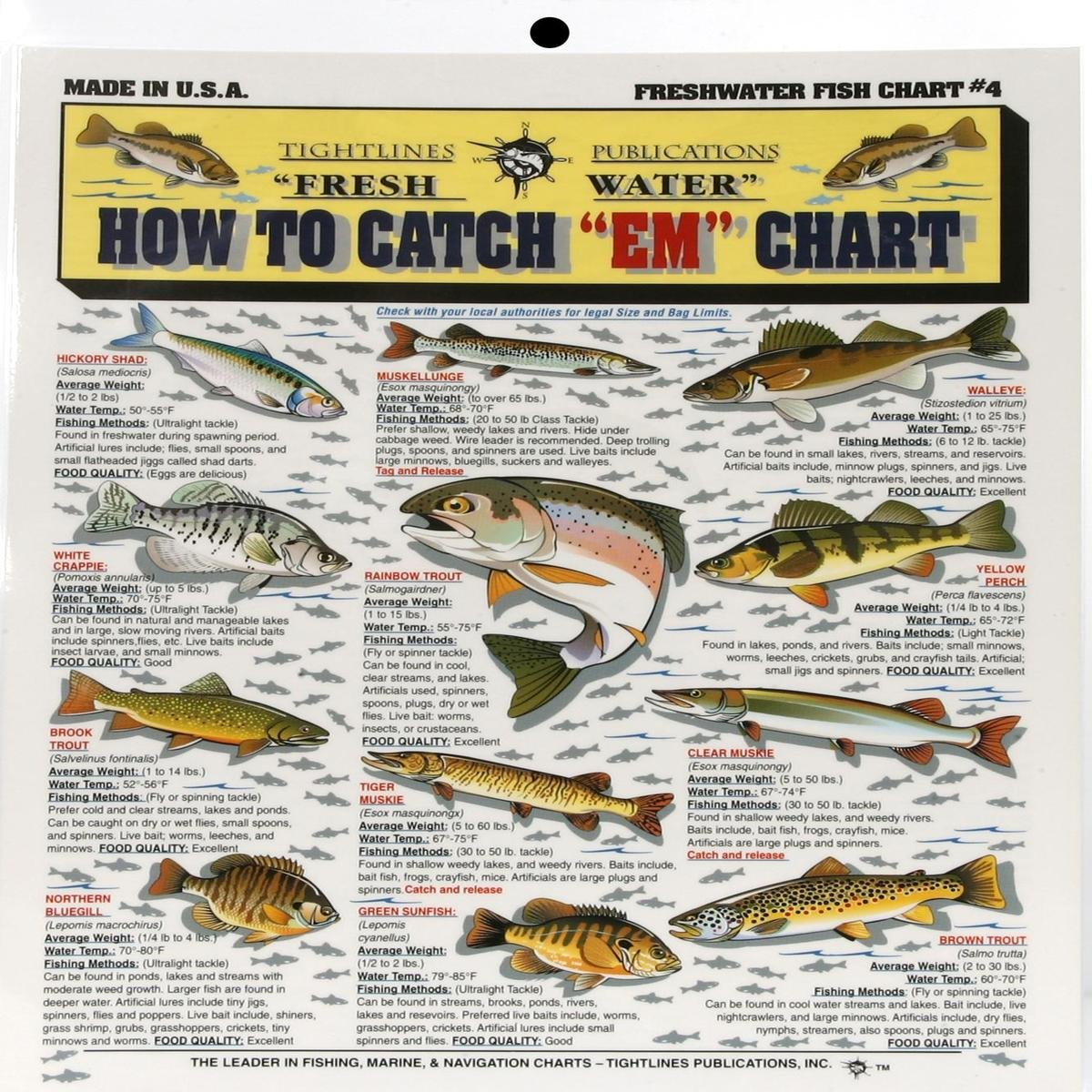 Amazon com fishermans freshwater fish chart 4 fishing charts