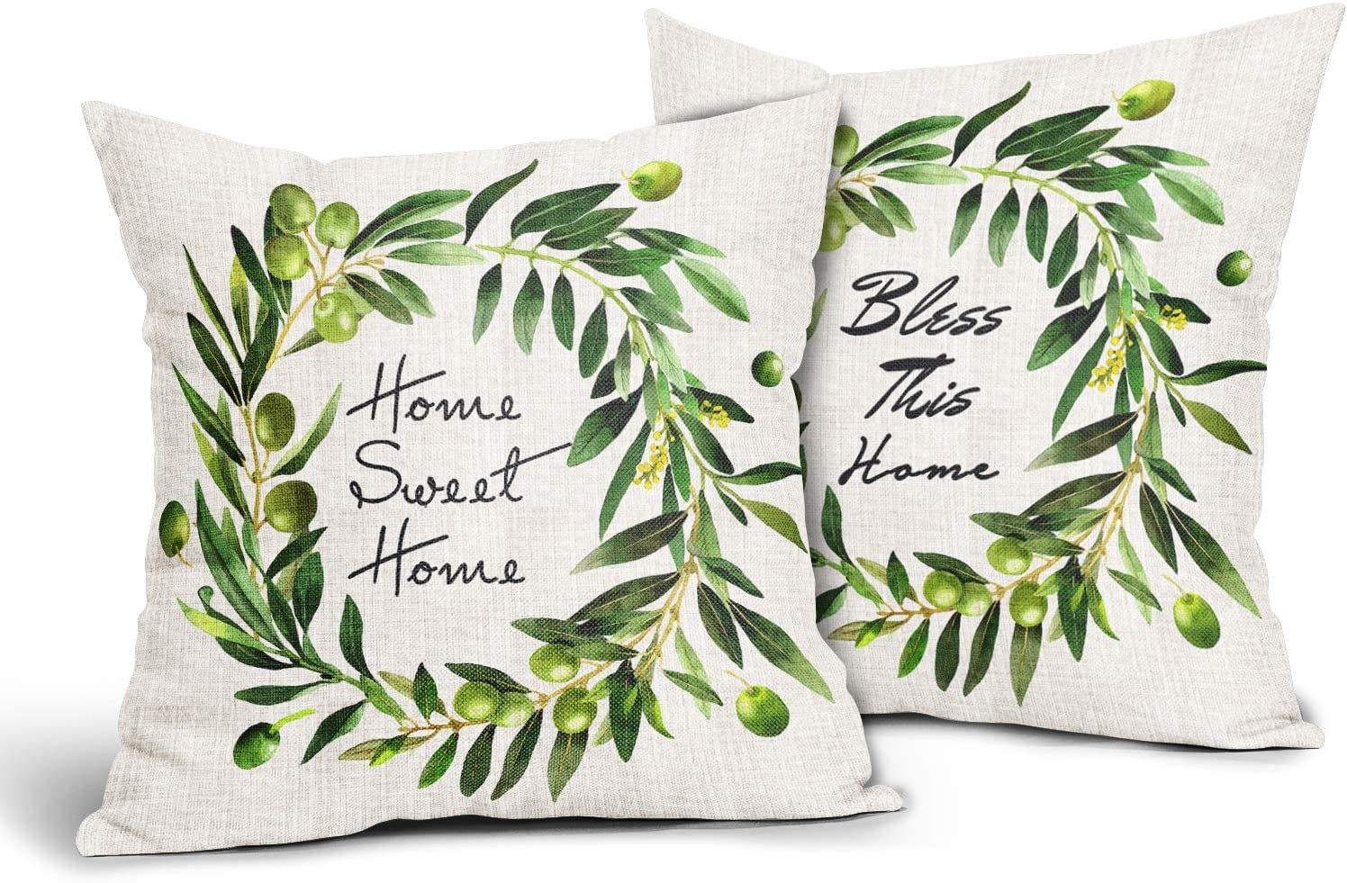 Olive Wreath Pillow Covers Set of 2,Home Sweet Home Green Throw Pillows 18x18 Vintage Farmhouse Decorative Square Cushion Cover Suitable for Men Women Girls Boys Couch Bedroom Livingroom