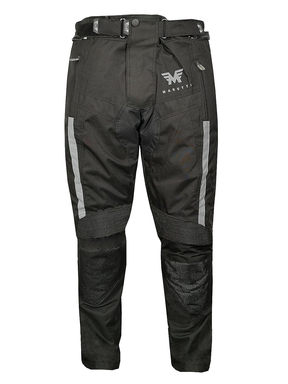 Pantoloni moto motociclista da uomo, protezioni, impermeabile, tessuto cordura pelle, nero