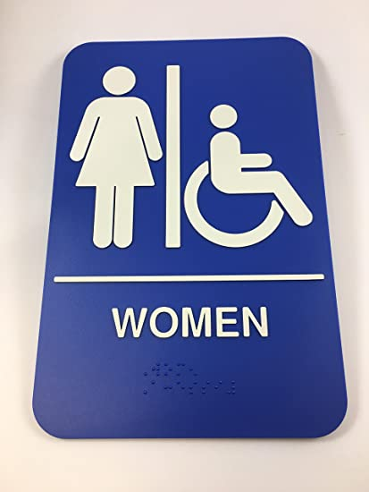 mens womens handicap accessible braille restroom sign bathroom sign self adhesive 6x9 - Womens Bathroom Sign
