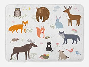 Lunarable Cabin Bath Mat, Cute Animals in The Springtime Meadow Childish Woodland Fauna Kids Baby Room Nursery, Plush Bathroom Decor Mat with Non Slip Backing, 29.5 W X 17.5 W Inches, Multicolor