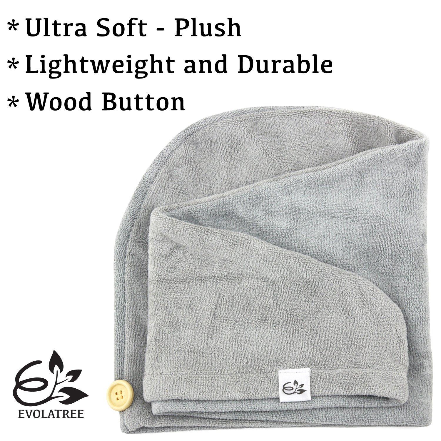 Evolatree Microfiber Hair Towel Wrap - Quick Magic Hair Dry Hat - Anti Frizz Products For Curly Hair Drying Towels - Neutral Gray by Evolatree (Image #3)
