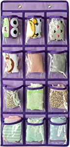 NIMES Hanging Closet Underwear Sock Jewelry Storage Over The Door Classroom Cell Phone Calculator Organizer 12 Clear Pockets (Purple)