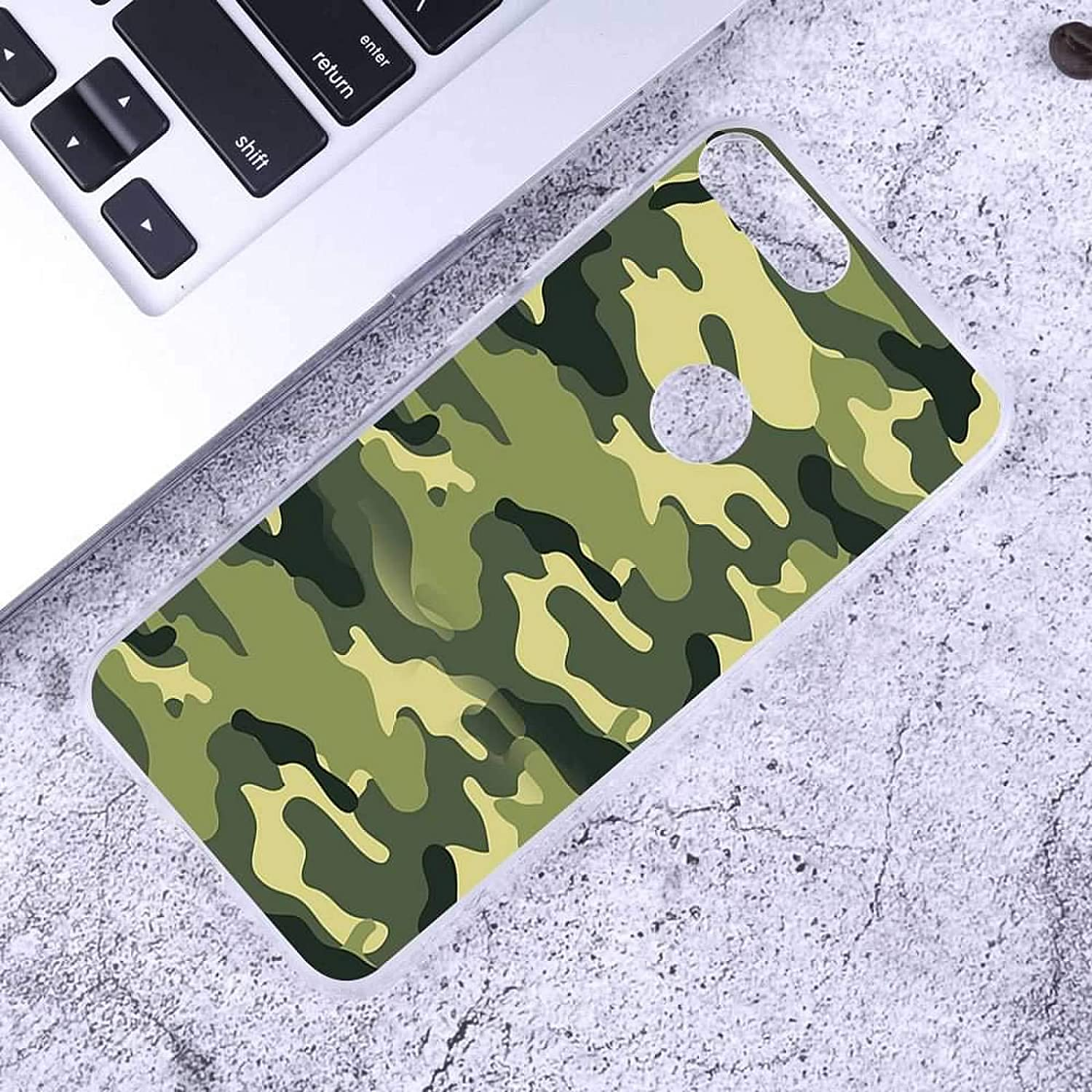 Compatible for Alcatel 1S 2019 Case with 2 Pack Glass Screen Protector Phone Case for Men Women Girls Clear Soft TPU with Protective Bumper Cover Case for Alcatel 1S 2019 Camouflage