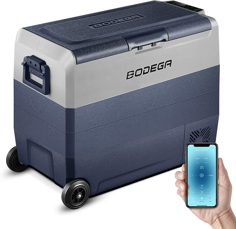 BODEGA 12 Volt Refrigerator Portable Freezer, Car Fridge Dual Zone APP Control, 64 Quart(60L)-4℉-68℉ RV Electric Compressor Cooler, 12/24V DC and 100-240V AC for Outdoor, Camping, Travel,Vehicles