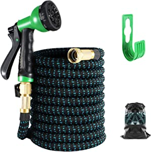 Expandable Garden Hose 100FT, Water Collapsible Hose with 8 Function Spray Nozzle, Durable 3-Layers Latex Core with 3/4