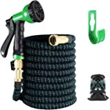 """Expandable Garden Hose 100FT, Water Collapsible Hose with 8 Function Spray Nozzle, Durable 3-Layers Latex Core with 3/4"""" Soli"""