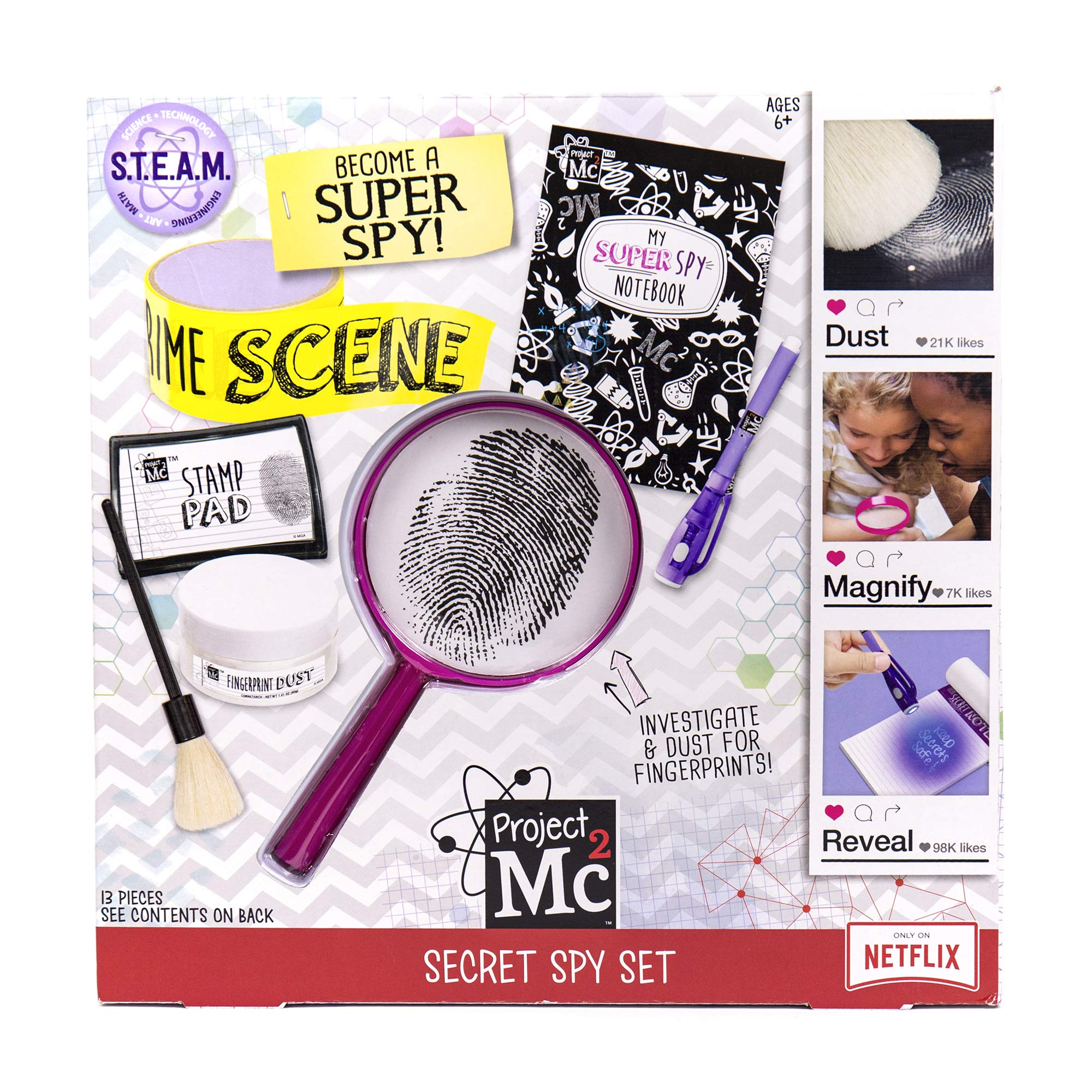 Project MC2 Pretend Play Super Spy Stem Science Kit by Horizon Group Usa, Includes Detective Finger Print Identification Set, Crime Scene Tape, Magnifying Glass, Spy Notebook & More by Project Mc2
