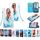 Samsung Galaxy a5 2017 PU Leather Wallet Case Printed Card Slots/Kickstand, Shockproof Magnetic Closure (Mermaid)