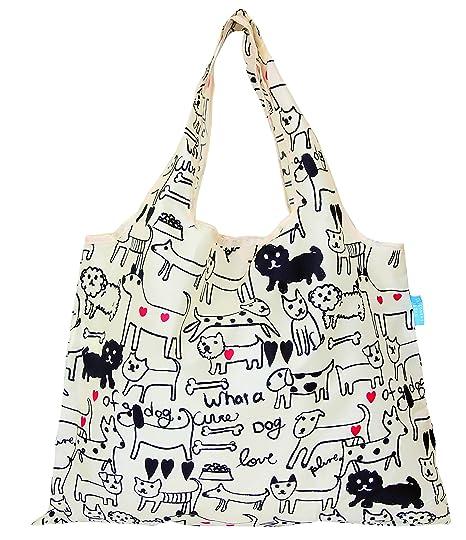 a8d277c3c03c Amazon.com - Designers Japan Prairie Dog Reusable Foldable Grocery Shopping  Bag Machine-washable 44lb Capacity (Monotone Dog) -