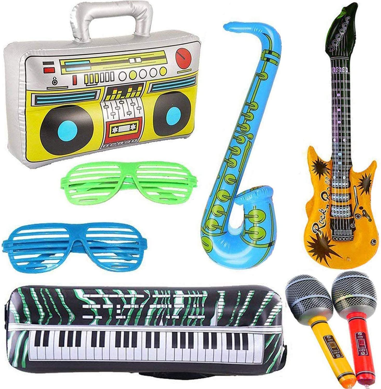 8 UNIDS Guitarra Inflable Saxofón Micrófono Boombox Teclado Globos Accesorios de Instrumentos Musicales Luminoso Gafas Brillantes en Negro para Artículos de Fiesta Favores de Fiesta Bolas Color Alé: Amazon.es: Juguetes y juegos