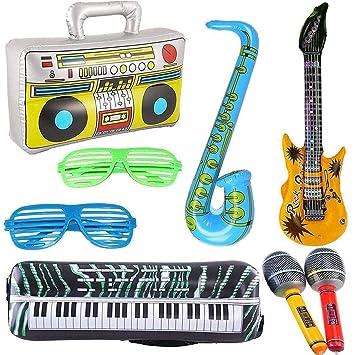 8 UNIDS Guitarra Inflable Saxofón Micrófono Boombox Teclado ...