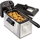 Hamilton Beach Deep Fryer, 12 Cups / 3 Liters Oil Capacity, Frying Basket with Hooks, Lid with View Window, Stainless Steel,