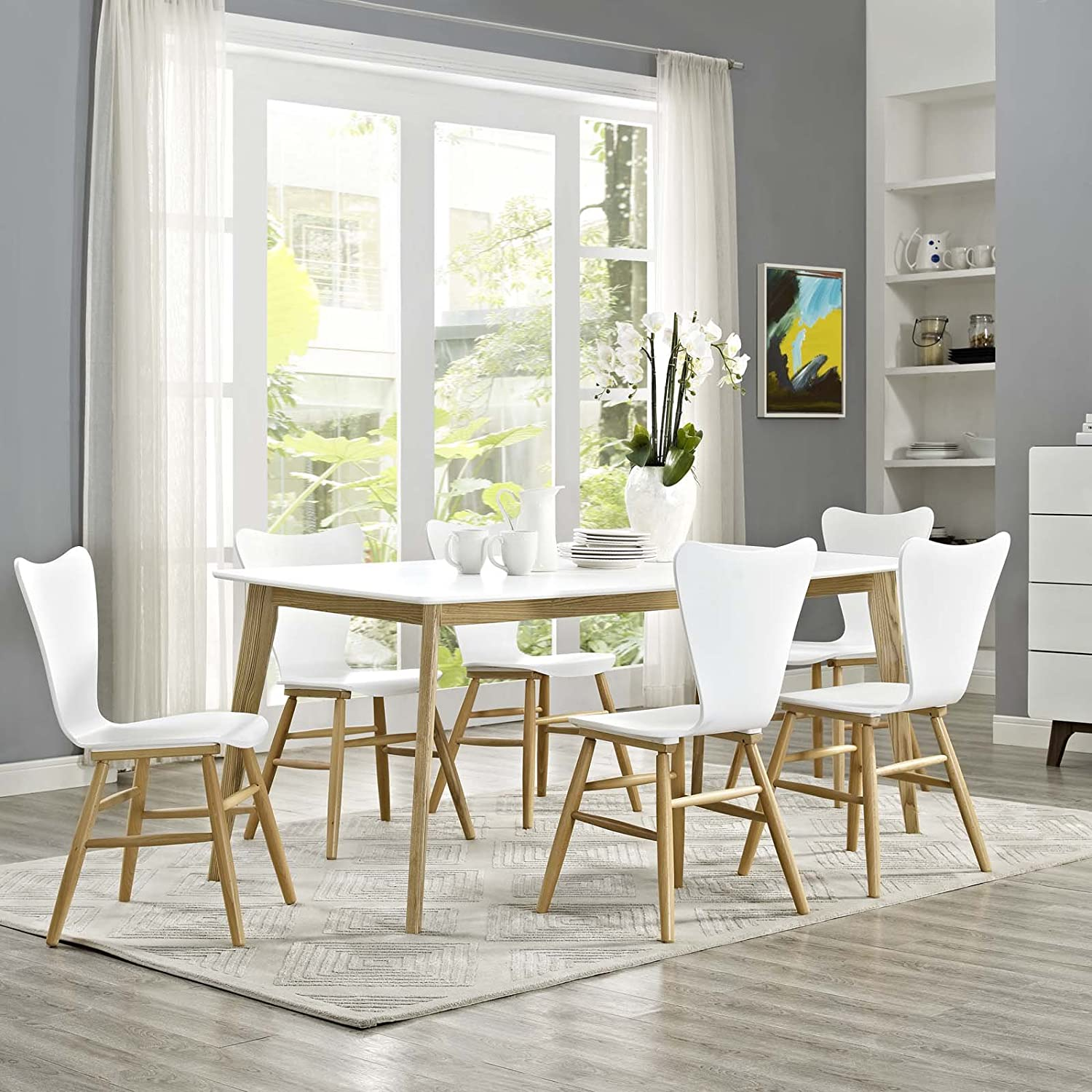 """Modway Stratum 71"""" Mid-Century Modern Kitchen and Dining Room Table in White"""