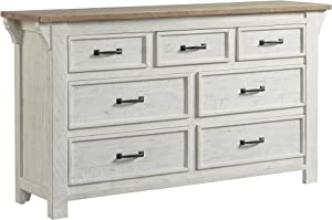 Lane Home Furnishings Dresser, Distressed white with light brown top