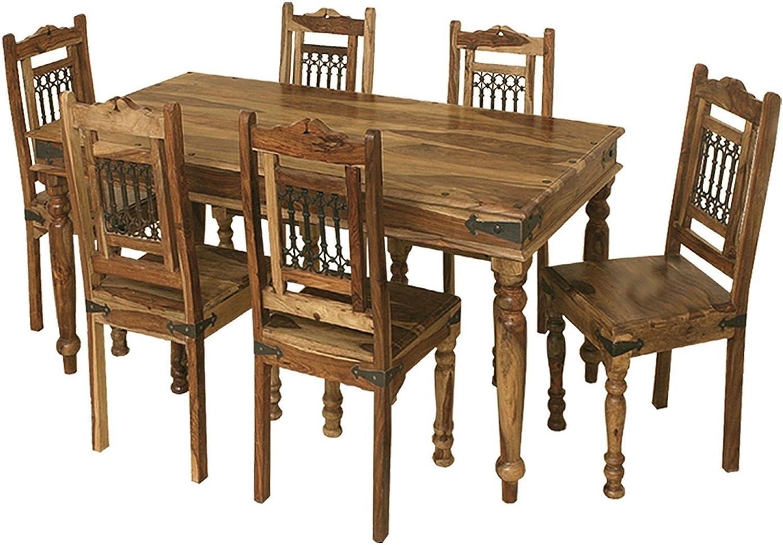 Jali Solid Sheesham Indian Rosewood 1 75 M Dining Table Solid Rosewood Dining Table 4 Chairs Dining Room Furniture Amazon Co Uk Kitchen Home