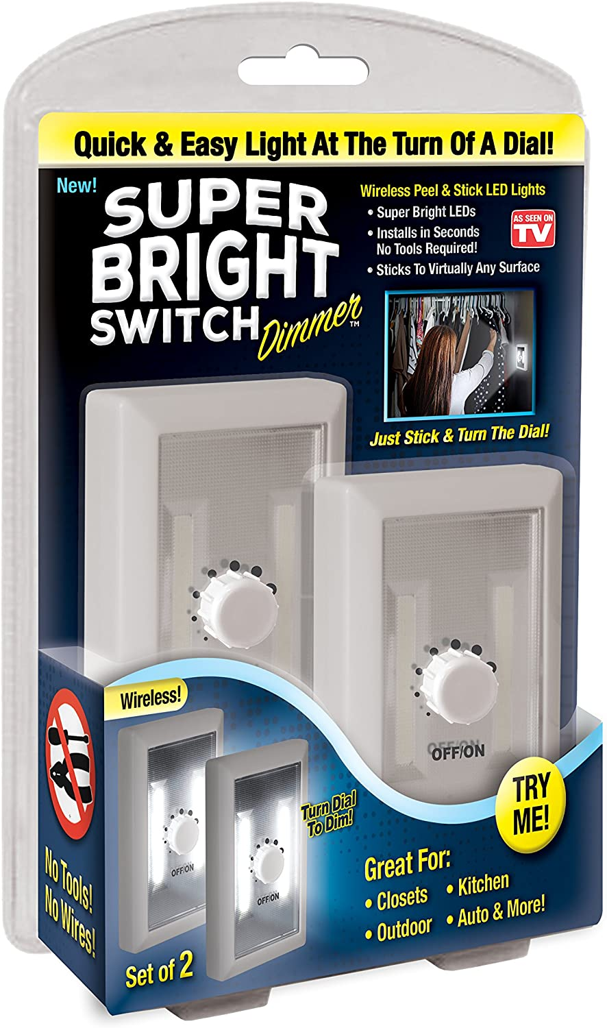 Under Cabinet Night Touch Shed Tap Light Utility Garage Kitchen Battery Operated Basement Super Bright Switch Dimmer: Wireless Peel and Stick LED Lights