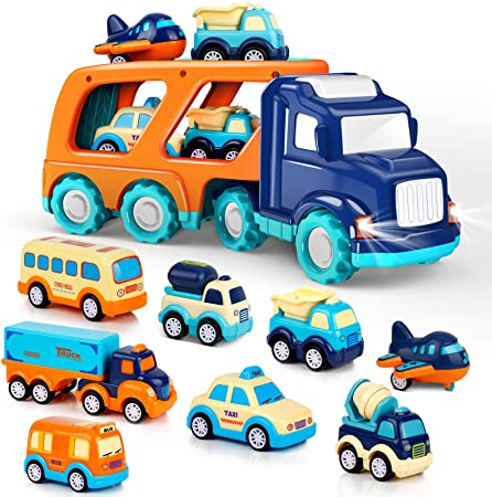 9 Pack Cars Toys for 1 2 3 4 5 Years Old Toddlers Boys and Girls Gift, Big Transport Truck with 8 Small Cute Pull Back Trucks, Colorful Assorted Vehicles Playset, Carrier Truck with Sound and Light