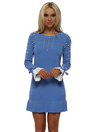 ddbd12a09e1 Laetitia Mem Cornflower Blue Pearl Pleated Cuffs Frill Hem Jumper Dress One  Size Blue  Amazon.co.uk  Clothing