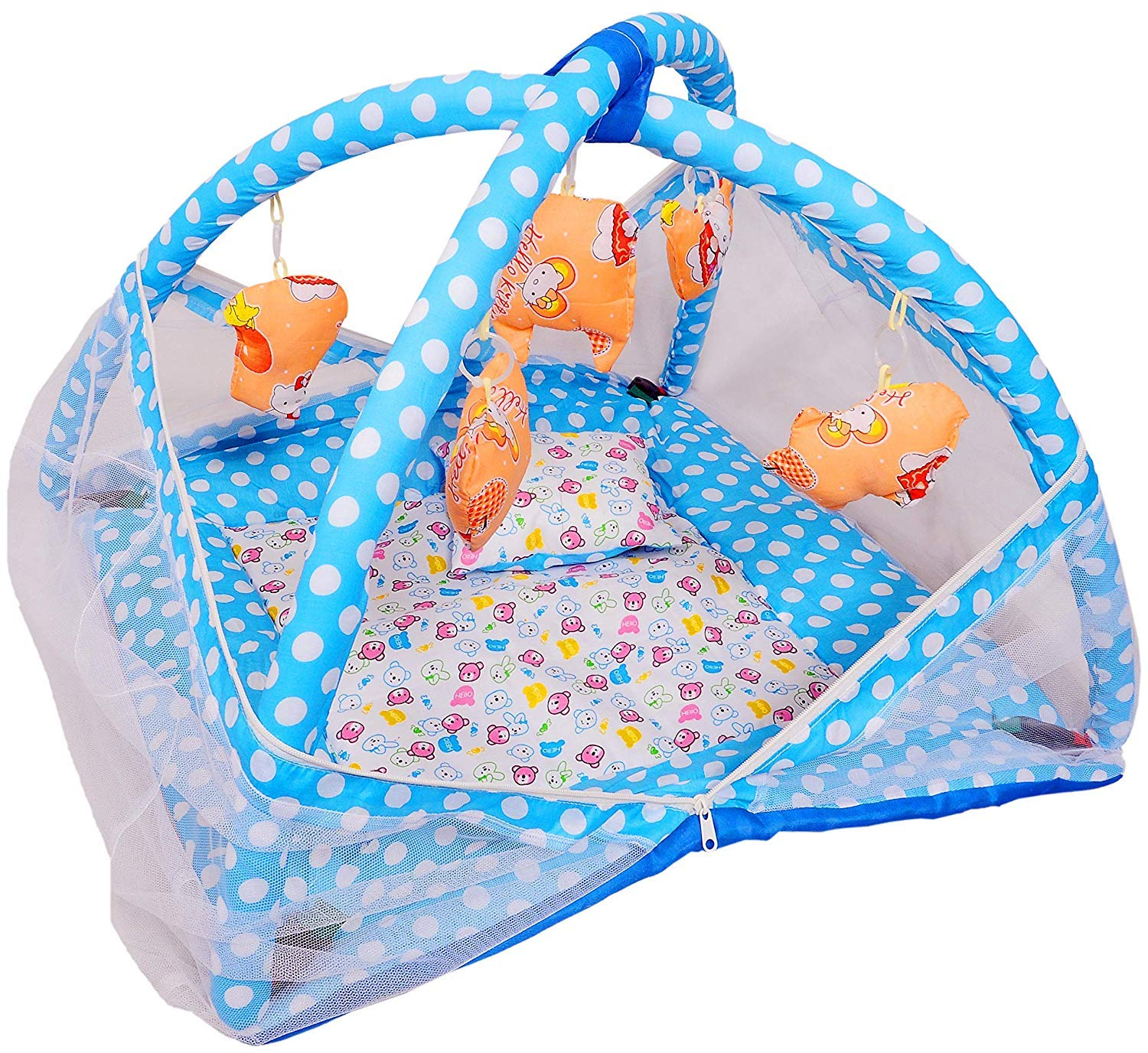 Buy Prime Deals Baby Kick and Play Gym with Mosquito Net and Baby Bedding  Set- Multi Colour (Blue 21957023a11f8