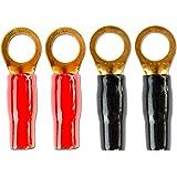 #6505W9# Gabelschuh / Ringösen Stecker Kontakte für Kabel bis 6 mm² - vergoldet - 4 Stück (2 x rote Isolierung, 2 x schwarze Isolierung)