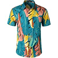 JOGAL Mens Flowers Casual Aloha Hawaiian Shirt