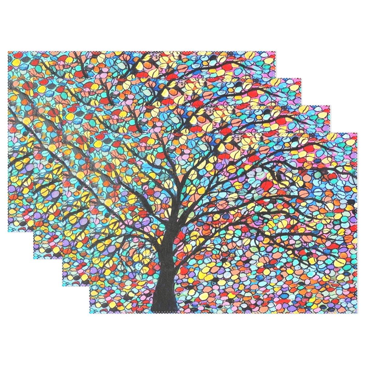 yochoice Art Oil Painting Colorful Tree of Life Nature Treesプレースマットプレートホルダーのセット1、スタイリッシュなポリエステルテーブルの配置マットプロテクターキッチンダイニングルーム12