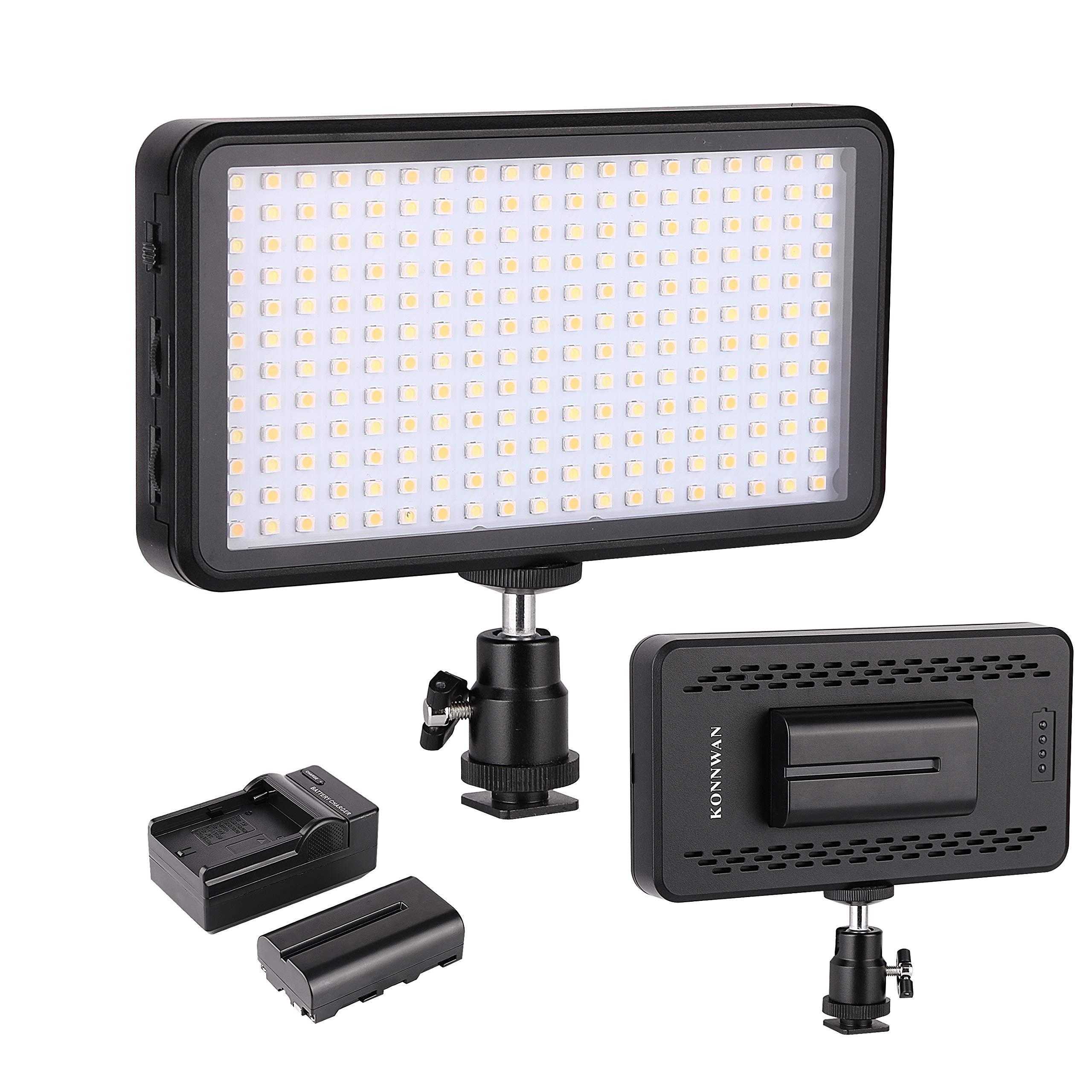 LED Video Light KONNWAN 228 for Digital DSLR Camera, Camcorder, High Brightness Lumen Value,6000k Dimmable Switch with Color Filter Gel, led Vedio Lighting kit Included led Battery Charger stents by KONNWAN
