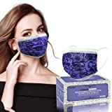 Disposable Face Masks with Designs, Face Mask for Women, Breathable 3- Ply Face Mask with Cute Lace Fashion Pattern, Adjustab