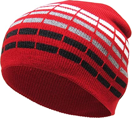 641d24a5e12bf Amazon.com  KBW-02 RED Dotted Stripes Short Beanie Skull Cap Solid Color  Men Women Winter Ski Hat  Sports   Outdoors