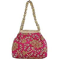 Keshav Industries Embroidered Woman Potli Bag (Pink)-KSITC4077