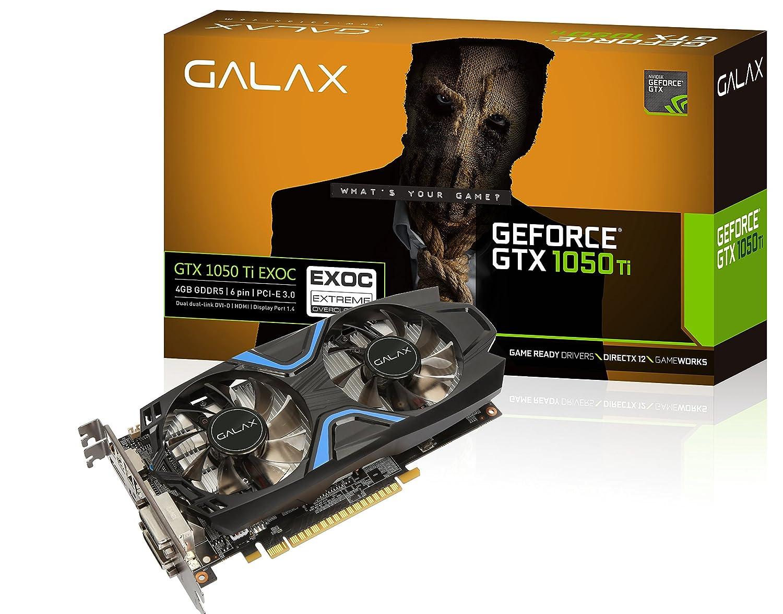 Image result for GALAX GeForce® GTX 1050 Ti EXOC 4GB 128-bit DDR5 - DP 1.4, HDMI 2.0b, Dual Link-DVI-D Graphic Card