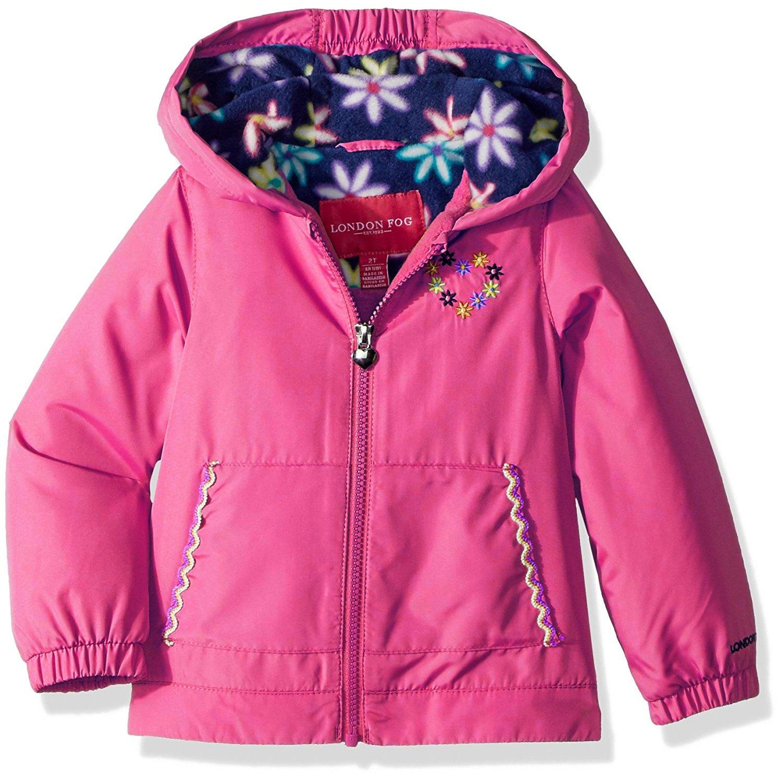 London Fog Little Girls' Floral Printed Fleece Lined Jacket, Dynamite Pink, 5/6 by London Fog