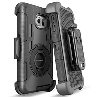 BENTOBEN Case for Galaxy S6 Edge, Shockproof Heavy Duty Protection Hybrid Rugged Rubber Case with Built-in Rotating Kickstand Belt Swivel Clip Holster Cover for Samsung Galaxy S6 Edge/SM-G925,Black