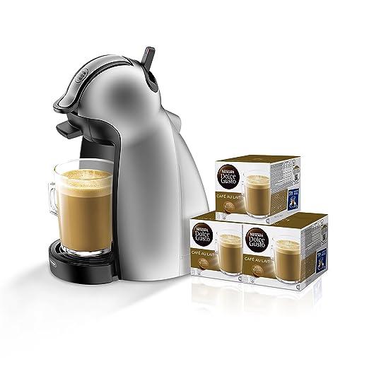 Pack DeLonghi Dolce Gusto Piccolo EDG201.S - Cafetera de cápsulas, 15 bares de presión, color plateado + 3 packs de café Dolce Gusto Con Leche