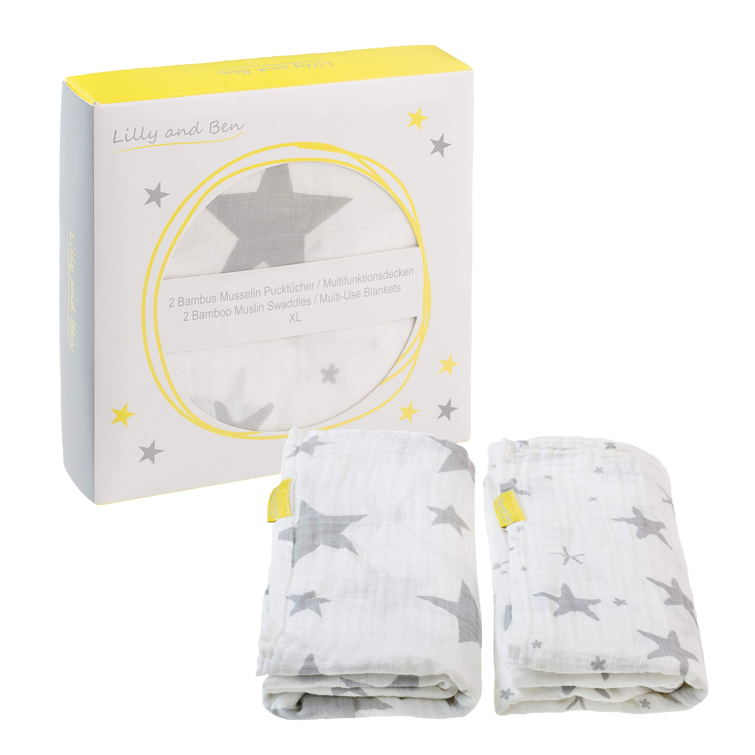 Muselinas Bebe Bambú Gasas Bebé Muselina doudou - Set de Muselinas para Bebé - Colores Blanco