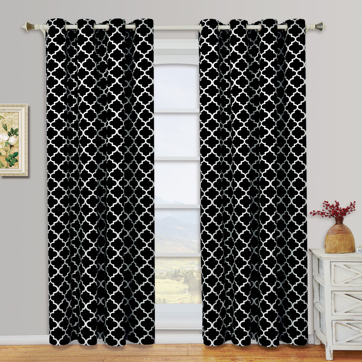 Meridian Black and White Grommet Room Darkening Window Curtain Panels, Pair / Set of 2 Panels