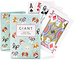 Juvale 2 Decks Giant Jumbo Dog Design Playing Cards, 54 Cards Each Set, 4 x 6 Inches